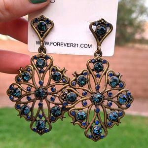Navy Blue Bronze Diamond Chandelier Post Earrings